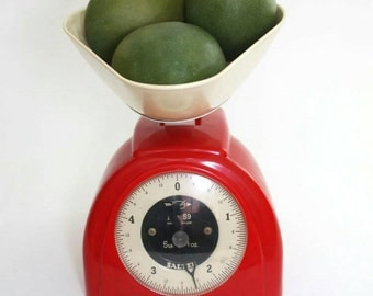 1960s No 59 Red Salter Kitchen Scales