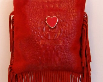 Bag leather  bag leather hand prints  handbag red leather