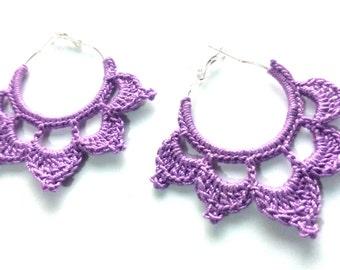 Crochet Lotus Earrings in Purple, Lotus Earrings, Crochet Earrings, Hoop Earrings, Crochet Hoop Earrings, Lotus Flower