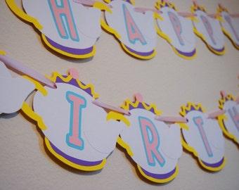 Tea Party Happy Birthday Banner ; Princess Party Decor ; Tea Kettle Decoration ; Girl Birthday Banner