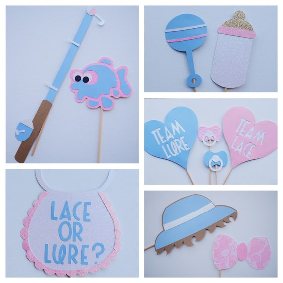 Gender reveal baby shower photo booth prop set fishing baby for Fishing gender reveal
