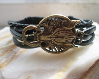 Wolf brown or black leather antique bronze bracelet - Fenrir - Final Fantasy VII - Advent Children