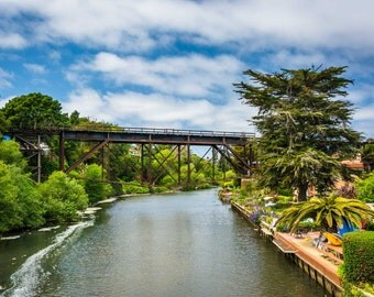 Railroad bridge over Soquel Creek in Capitola, California. | Photo Print, Stretched Canvas, or Metal Print.