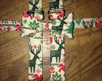 Boys  Christmas /Winter/Holiday/print Boys bowtie Suspender/red green and cream reindeer/great for pictures for cards or Santa -child outfit