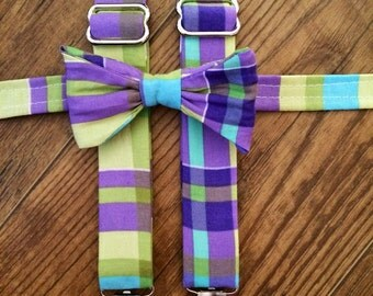 Purple green and blue plaid print Suspenders and Bow tie/Boy/Toddler/Child/Great for Ring Bearers - Weddings/easter outfit/spring pics