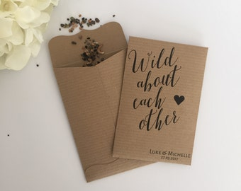 10 Seed Packet Wedding Favour Envelopes Personalised 'Wild about each other'