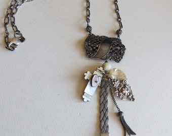 """Antique Victorian Sterling/Mother of Pearls Charms Necklace 26"""" long"""
