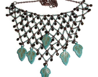 Southwestern Bib Style Statement Necklace Leaves and Coppertones Bib Statement Necklace Large necklace beaded leaf necklace bib necklace