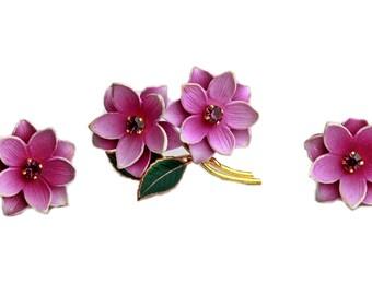 Puprle Celluloid Flower Brooch Earring Set Demi Parure