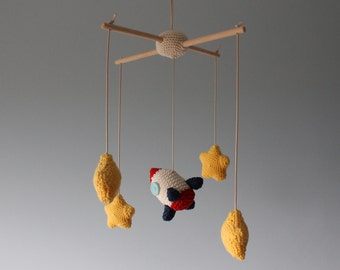 Crochet baby mobile - rocket ship