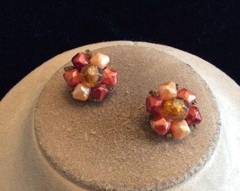 Vintage Signed Hong Kong Brown Orange Burgandy Beaded Clip On Earrings