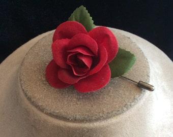 Vintage Red Velvet Rose Stick Pin
