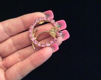 Vintage 3D Goldtone Pink Rhinestone Floral Pin