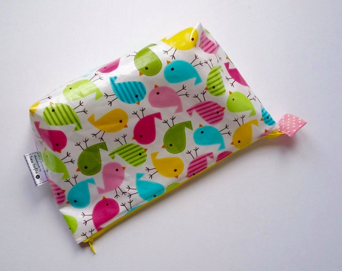 MADE TO ORDER Baby Birds Wipe Clean Wash Bag