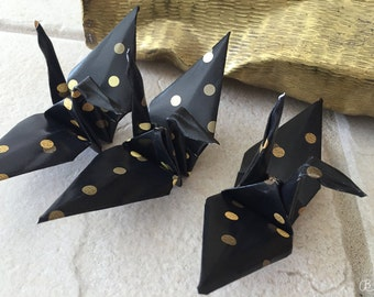 Origami crane - 12 paper cranes in black and gold dots - oragami - decoration ideas - origami 3d - party decoration