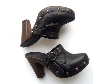 PEPE JEANS black sandals clogs for woman UK6 US8.5