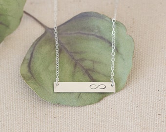 Valentine's Gift, Infinity Silver Bar Necklace, Infinity Love Necklace, Infinity Symbol, Love Jewelry, Silver Bar, Valentine's Gift for Her