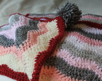 Crochet baby Blanket in pastel pink and grey colours, chevron striped pattern blanket, handmade baby girl crib blanket, baby girl gift
