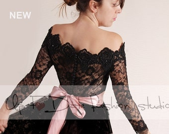 Plus Size black lace bolero Bridal /Off-Shoulder /Lace wedding jacket/  shrug/  jacket / lace top
