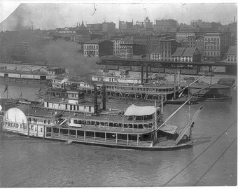 River front at St. Louis, Mo., Missouri, Steamboat, Steam Boat