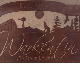 Personalized Metal Sign with COYOTE, BARN, WINDMILL  customized with your name