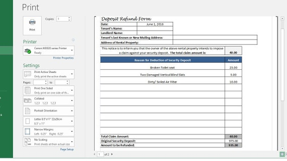 Rental Deposit Tracking Form Landlord Tenant Security Deposit