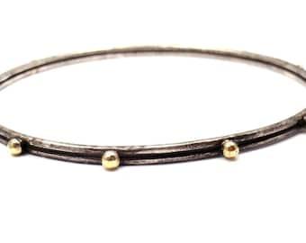 """armenta oxidized silver & 18k gold studded bangle bracelet 8"""""""