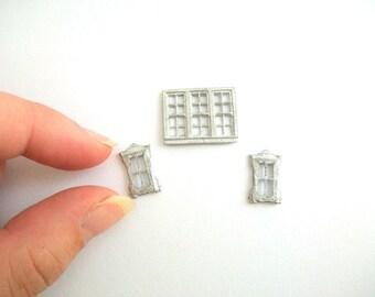 Micro Mini Windows, Miniature Windows, Micro Mini Dollhouse, Micro Mini Accessories, Micro Mini Furniture, Micro Mini, Silver, Windows