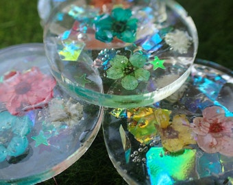 Beautiful Flower Stepping Stones for Miniature Fairy Gardens! Set of 5 Stepping Stones