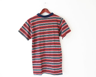 MEDIUM (Long and Lean) Vintage 1970s Soft Striped T-Shirt