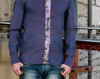 Men's shirt - Long sleeves - Purple