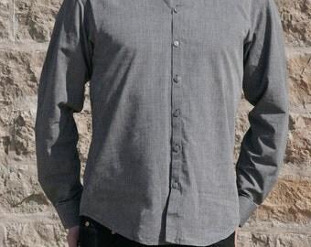 Men's long sleeves grey colored mandarin shirt