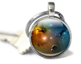 Galaxy Keyring - Space Keychain - Galaxy Keychain - Space Keyring - Galaxy gifts