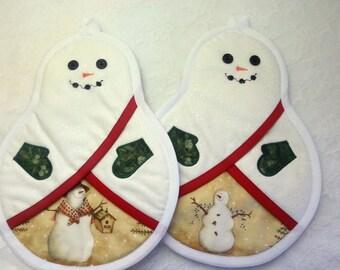 Snowman Potholders, Christmas Pot Holders, Hot pads, Oven Mitts,Pocket Potholders