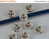On Sale NOW 25%OFF Anchor Embossed Button Sliders For 5mm - 6mm Flat Leather Antique Silver Z3042 Qty 2