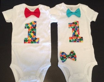 Twins First Birthday Bow tie Onesies
