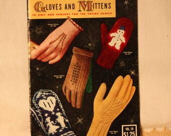 Knit and crochet gloves and mittens pattern book from 1953, 21 different patterns