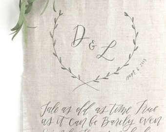 Custom Handmade Calligraphy Hand-Lettered Linen Wedding Sign Banner Scroll