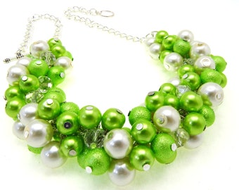 Lime Green Pearl Necklace, Green Cluster Necklace,Pearl Chunky Necklace, Bridesmaid Necklace, Green Pearl Chunky Necklace