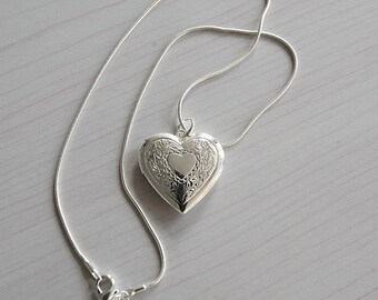 Etched Silver Heart Locket Necklace