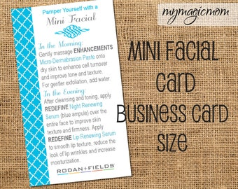 Rodan and Fields Mini Facial Instruction Card - Digital File - Instant Download Blue Moroccan- Business Card Size