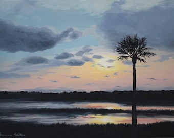 Palmetto Tree Sunset Painting with Cloudy Colorful Sky