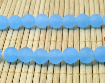 47 pcs of Blue Jade matte round beads in 8mm