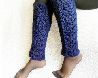 Knit Leg Warmers Boot socks Women's in blue, long Leg Warmers, knit Leg Warmers for Women.