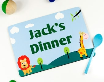 Childrens Placemat - Jungle Animals -  Personalized Placemats For Kids - PM001