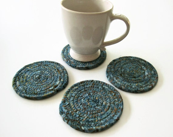 ... Coiled Fabric Coasters - Coiled Rope Coasters - Clothesline Coaster