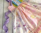 Ruffle knot dress. Floral lace Dress. handmade dress- , ruffle front panel, and tie back sash. birthday dress. vintage dress. elegant dress.