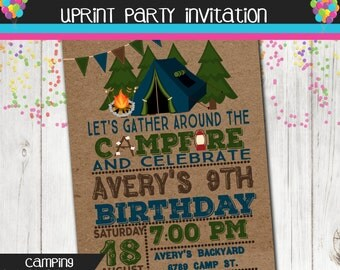 Campfire Bonfire Invitation - Smores Invite - Camping Birthday - Printable