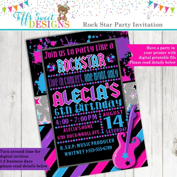 rock n roll birthday party rock star party girl rocker party invite invitation by. Black Bedroom Furniture Sets. Home Design Ideas