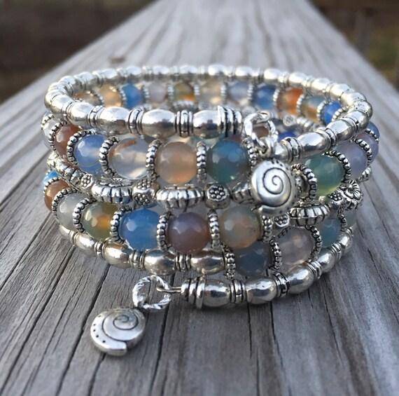 Multi Gemstone Memory Wire Wrap Bracelet With Spiral Charm